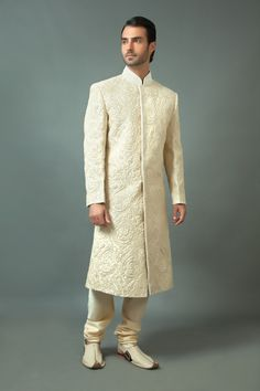 Pure silk sherwani embellished with resham and moti work. Item number M15-108