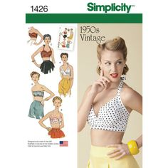 Simplicity Pattern 1426 Misses' Vintage 1950s Bra Tops