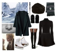 Everyday Slytherin Style - Ice Skating #17 by realslytherinpride on Polyvore featuring Warehouse, Neil Barrett, Ted Baker, Elope, Accessorize, harrypotter, slytherin and iceskating