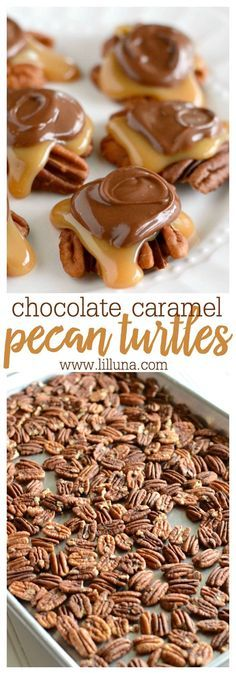 Chocolate Caramel Pecan Turtles - Baked pecans covered in a delicious homemade caramel and topped with with melted chocolate! Chocolate Caramel Pecan Turtles - Baked pecans covered in a delicious homemade caramel and topped with with melted chocolate! Brownie Desserts, Oreo Dessert, Köstliche Desserts, Holiday Baking, Christmas Desserts, Christmas Baking, Delicious Desserts, Dessert Recipes, Christmas Candy