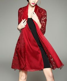 Red Silk Lace Open Cardigan