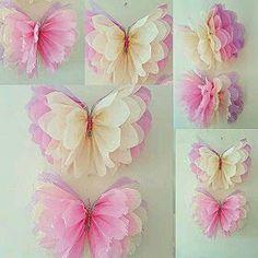 Aprende como hacer estas hermosas mariposas usando papel de seda (papel de China, papel tissue) y usalas para decorar una fiesta o una habi...