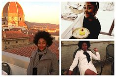 """Tamara (clockwise) enjoying the Florence rooftops, at her favorite bakery """"MADE"""" in Rome, and otherwise chilling around town.  [photo credit: Gia Rodriguez, Tamara Castillo, and Kevin Walker respectively]"""