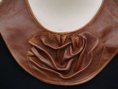 Distressed Brown Leather Bib Collar by ElegantElementsOnlin