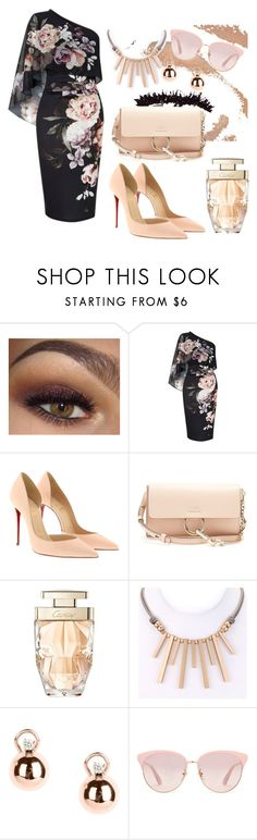 """ladys fashions"" by creativegirl247 ❤ liked on Polyvore featuring Lipsy, Christian Louboutin, Chloé, Cartier, Bliss and Gucci"