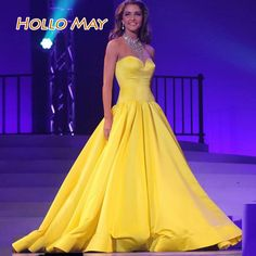 Find More Prom Dresses Information about 2016 Fashion Stain Long Yellow Prom Dresses A Line Floor Length vestido de festa,High Quality dress braid,China floor length formal dress Suppliers, Cheap floor waste from Hello May Dresses Custom Made on Aliexpress.com