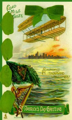 Vintage St. Patrick's Day Postcard with Airplane