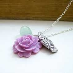 Owl Charm Necklace, Radiant Orchid Rose, Mint Green, Spring, Woodland, Rustic, Whimsical - Owl and the Rose