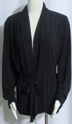 Womens Ladies COLDWATER CREEK Black Stretch Open Tie Jacket Top XL Orig $149 #ColdwaterCreek…