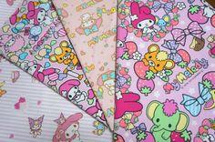 Sanrio+My+Melody++fabric+Scrap+MAR2+by+beautifulwork+on+Etsy,+$7.50