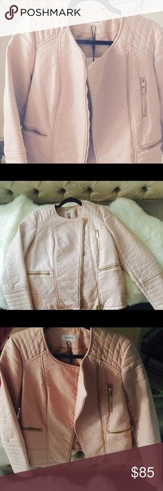 Beautiful light pink Calvin Klein polyester jacket Size M, NWT, Pristine condition, lovely gold zippers, super cute cut and roomy fit. Calvin Klein Jackets & Coats