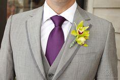 Grey tux + purple tie