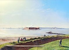 "Fort Sumter from Moultrie, November 10, 1863.  Painting by Conrad Wise Chapman.  ""This is a view of Fort Sumter from Fort Moultrie; shows also battery on James Island. A shell is bursting over Fort Sumter. The artist stated he never looked in the direction of Fort Sumter that he did not see a shell bursting over it."" – Conrad Wise Chapman, 1898"