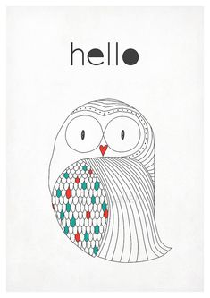 Retro poster in Scandinavian style owl art print by EmuDesigns