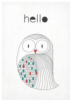 Retro poster in Scandinavian style  owl  simple par EmuDesigns, $19.00