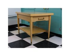 Mersman Blonde Side Table 8131 With Drawer & Shelf Mid Century Vintage