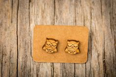 FREE SHIPPING  Owl Bamboo Earrings  Surgical by KitschyKooDesign