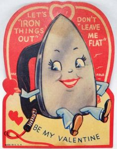 J320 40s Let's Iron Things Out Anthropomorphic Vintage Diecut Valentine Card | eBay