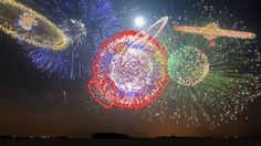 Chinese not only invented fireworks, they are still masters of it.  Some of these launch images from the mother image.