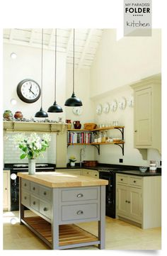 Kitchen , Lovely English Country Kitchens : English Country Kitchens With Neutral Colours And Small Island With Solid Wood Countertop And Black Kitchen Pendants And Open Shelving And Decorative Plates For The Walls English Country Kitchens, Modern Country Kitchens, Country Kitchen Farmhouse, Country Kitchen Designs, Rustic Kitchen Decor, Vintage Kitchen, Home Kitchens, Small Kitchens, Kitchen Small