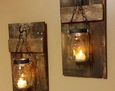 Mason Jar Candle Holder, Rustic Decor, sconces, Lanterns, Mason Jar Decor, Mason Jar candles, Rustic Wood Candle holders priced 1 each