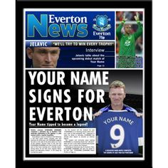 David Moyes, Contemporary Frames, Soccer Gifts, Everton Fc, Soccer Fans, Your Name, Name Signs, Gifts For Boys, Newspaper