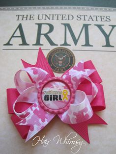 """United States Army """"Army Girl"""" Hair Bow by Hair Whimsy"""