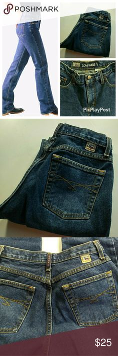 """Cruel Girl Utility Jeans medium wash sz 7/8 Cruel Girl Utility Jeans medium wash sz 7/8. Heavy 100% cotton jeans in perfect condition with no signs of wear. Inside waist says lowrise but it measures 10"""" and that is high rise??? Waist 15"""" rise 10"""" inseam 32"""" Cruel Girl Jeans Straight Leg"""
