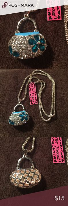 """Betsey Johnson Crystal handbag necklace NEW New with tags. 28"""" chain. Next day shipping Betsey Johnson Jewelry Necklaces"""