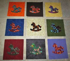 "Set of  9 Tye Dye Batik Rocking Horse  on  Mixed 6"" Quilt Blocks"
