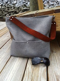Gray slouch bag hobo bag shoulder bag medium tote by pursesbypippa, $59.99