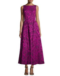 Sleeveless Floral Lace Tea-Length Dress by Badgley Mischka at Neiman Marcus.