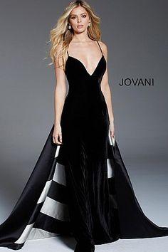 62a96f238c2 Black Ivory Plunging Neckline Velvet Evening Gown 58612  VneckDress   PromDress  Jovani  Prom2018