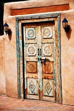 Carved door, Santa Fe, New Mexico.
