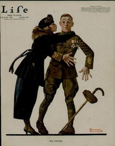 LIFE magazine cover from April 10, 1919 showing a returning soldier greeted enthusiastically by his sweetheart.