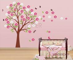 new Blooming Cherry Tree -wall decal-vinyl deco art wall sticker Baby Nursery… Cherry Blossom Tree, Cherry Tree, Baby Nursery Decor, Girl Nursery, Vinyl Wall Decals, Wall Sticker, Tree Wall, Baby Room, Rose