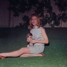 Elizabeth Montgomery in the backyard set of BEWITCHED