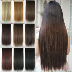 60cm Long Straight Women Hair Extensions Black Brown Blonde Natural High Tempreture Synthetic Hair Extension Hairpiece. Click visit to buy #SyntheticExtensions