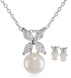 Platinum Plated Sterling Silver Freshwater Cultured Pearl Earrings and Pendant Necklace Set www.fashionbug.us