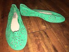 Miz Mooz Green Suede Leather Ballet Flats w/ Cutouts, Sz 6/36