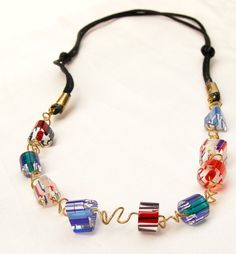 Unique Twisted Wire Necklace with Furnace Glass Red Blue & Green   GracefulArts - Jewelry on ArtFire
