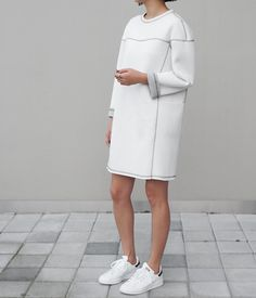 — White neoprene dress + Stan Smith