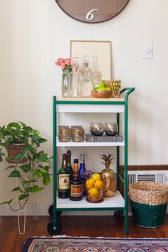 DIY Bar Cart with Wood Top
