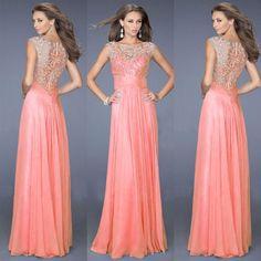 Senhoras elegantes Lace Splice Bra Mulheres vestido de chiffon partido Maxi Evening Prom