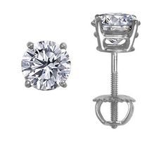 18K White Gold Round Diamond Stud Earrings (1 ct.tw.), large top view
