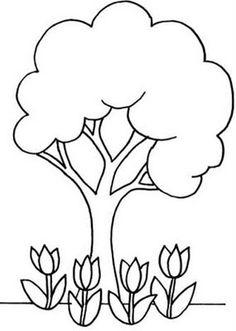 Arbol con tulipanes
