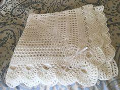 Unisex bianco uncinetto battesimo  coperta bambino di jesjaymat