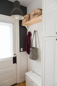 house meets Chill Scandinavian, Midwestern Cabin, and a bit of Mid-Century. Small Storage, Built In Storage, Entryway Hooks, Ikea Stockholm, Ikea Table, Ikea Shelves, Built In Cabinets, Cupboards, Houses