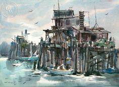 Art Riley (1911-1998) - Pier Side
