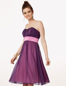 Jordan D218.   Chiffon dress with a draped empire bodice and softened sweetheart neckline. Crystal Satin waistband. Shirred knee length skirt. Optional spaghetti straps included. Available solid, or in any two colors.